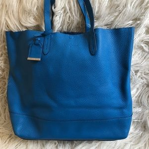 Cole Haan pebbled leather tote in bright blue
